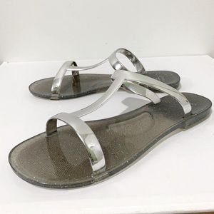 Oysho Silver & Sparkle Jelly Slide Sandals Size 8
